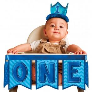 Baby Boy 1st Birthday Blue High Chair Decoration
