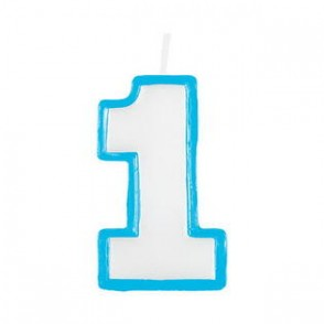 Blue 1st Birthday Candle