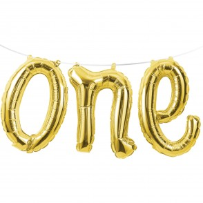 1st Birthday Gold One Balloon Banner