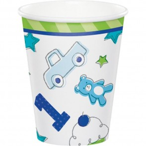 1st Birthday Blue and Green Doodle Cups