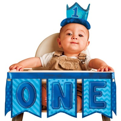 Baby Boy 1st Birthday Blue High Chair Decoration