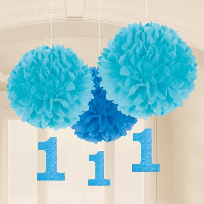 1st Birthday Blue Paper Fluffy Decorations