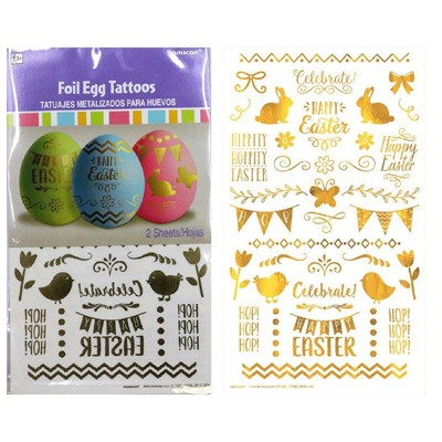 Metallic Gold Easter Egg Tattoos
