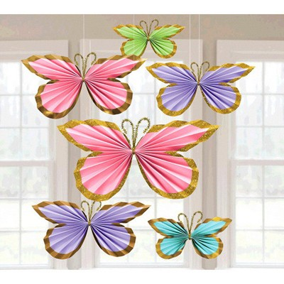 Glitter Butterfly Paper Fan Decorations