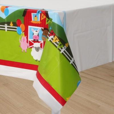 Farmhouse Birthday Party Border Print Table Cover
