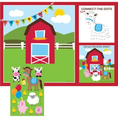 Farmhouse Birthday Party Activity Placemates with Stickers
