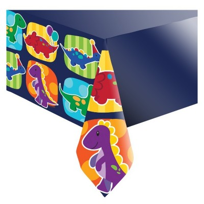 Little Dino Birthday Party Border Print Plastic Table Cover