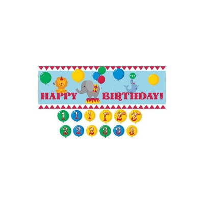Circus Time Birthday Party Giant Party Banner with Sticker