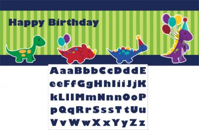 Little Dino Birthday Party Giant Banner with Sticker
