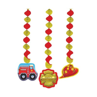 Fire Fighter Birthday Party Dangling Cutouts