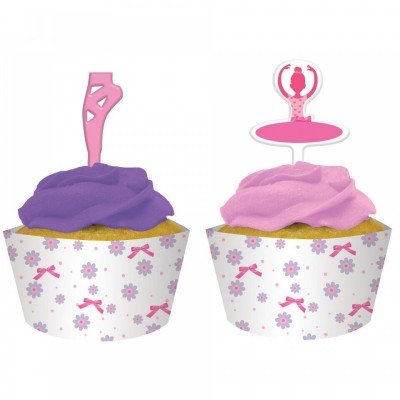 Ballerina Birthday Party Cupcake Wrap with Topper